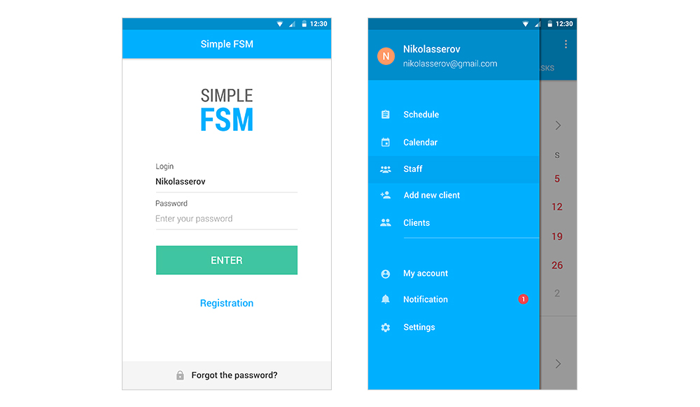 Mobile CRM system for cleaning: login