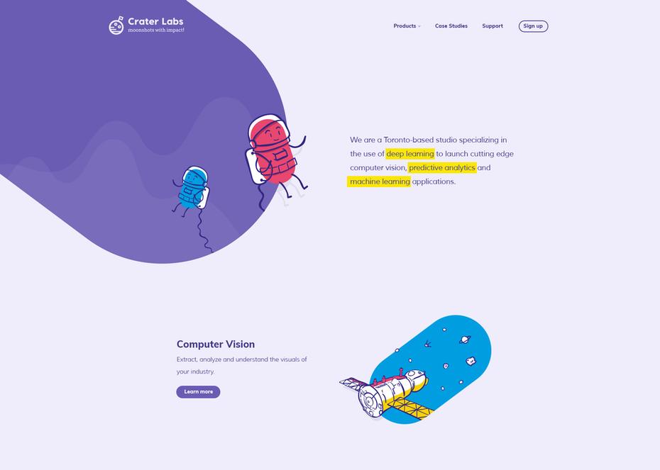 Тренды дизайна - мультяшные детали сайта.